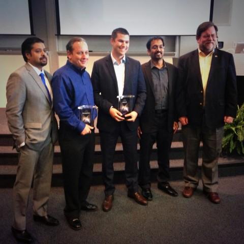 KP Reddy, ATDC; Dan Roy, MessageGears; Kyle Porter, SalesLoft; Vijay Balasubramaniyan, Pindrop; Stephen Fleming, Georgia Tech